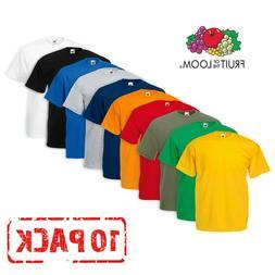 10 Pack Fruit of the Loom T Shirts T Shirt Short Sleeve Cott