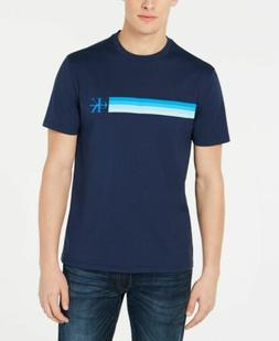$115 Calvin Klein Men'S Blue Striped Logo Crew-Neck Short-Sl