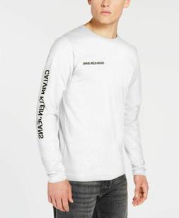 $115 Calvin Klein Men'S White Long-Sleeve Tee Crew-Neck Grap
