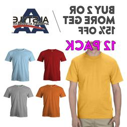 12 PACK AAA ALSTYLE 1301 MENS PLAIN T SHIRT CASUAL SHORT SLE