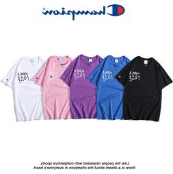 2019 New Men's Women Classic Champion Embroidery Top Tee S