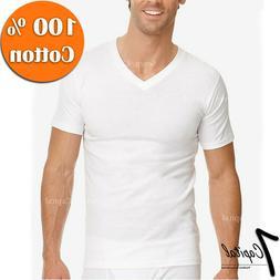 3-12 PC Mens 100% Cotton Tagless Crew V-Neck Undershirt Whit