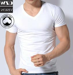 3-6 Pack Mens 100% Cotton Tangless Round V-Neck T-Shirt Unde