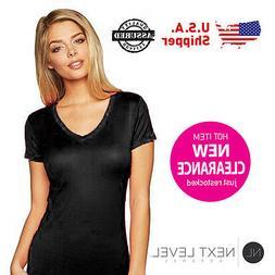 3 Pack Next Level Ladies Woman V-Neck Soft Wash T-Shirt Blac