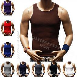 3  Big &Tall 100% Cotton Men's A-Shirt GYM T-Shirt Ribbed Mu