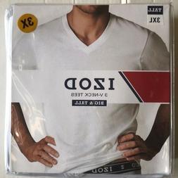 Izod 3 Pk V-Neck T-Shirts TALL 3XLT White Super Soft 100% Co