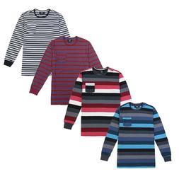 4 Pack Lot Bulk Mix Men's Striped Long Sleeve Crew Neck Pock