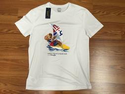 $45 NWT POLO RALPH LAUREN Mens White Graphic SS T-Shirt POLO