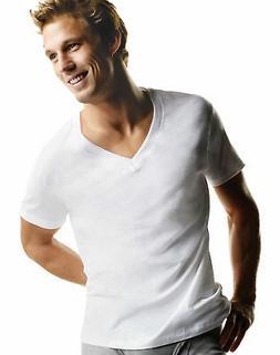 Hanes 5-Pack Men's TAGLESS V-Neck Undershirt T-Shirts White