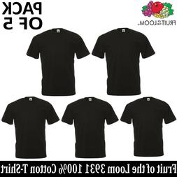 5 PACK OF FRUIT OF THE LOOM Plain Mens Black T Shirt S-6XL B