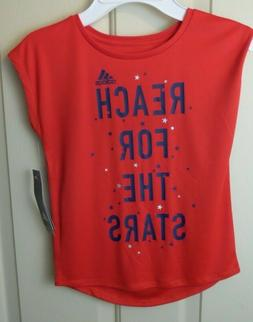 """Adidas Fashion Tops Girl """" Reach For The Stars """" Color Red"""