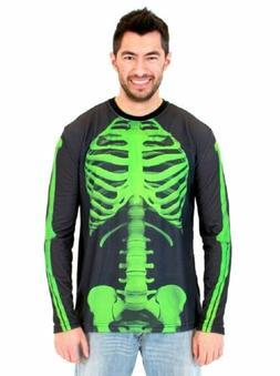 Adult Halloween Green Skeleton Bones Body Long Sleeve Costum