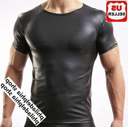 Advance Guard Sexy Men Leather Like T-Shirt Underwear Faux L