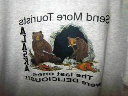 Alaska Novelty Tshirt retro 80s logo - Send more tourists, l