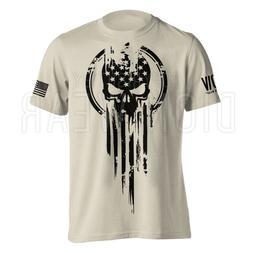 American Warrior Flag Skull Military Men's T-Shirt
