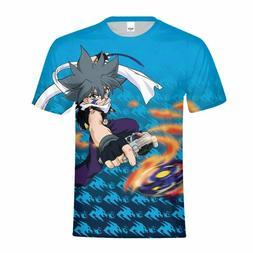 Anime Beyblade Mens Fashion Short Sleeve T-Shirts Teenager B