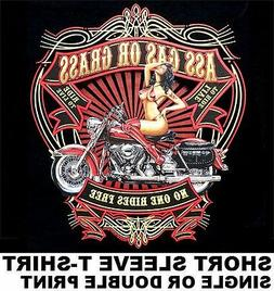 ASS GRASS OR GAS NO ONE RIDES FOR FREE PIN-UP GIRL MOTORCYCL