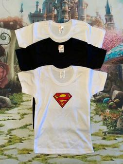 baby boy 2t shirts solid black, solid white, and superman 3
