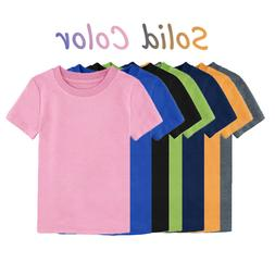 Baby Toddler Plain Blank T-shirts Kids Boys' Solid Top Girls
