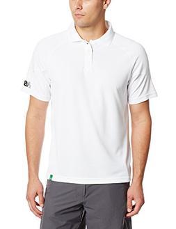 New Balance Men's Baseline Travel Polo, White/Black, Medium