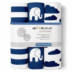 Baebae Goods Bassinet Sheet Set   Navy Elephants   Super Sof