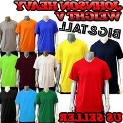 BIG AND TALL Men's  Colors Plain Short Sleeves V-Neck T-Shir