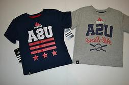 ADIDAS BOYS AND TODDLER T-SHIRTS  BLUE AND GRAY USA SIZES 2T