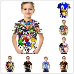 Boys Cartoon Mario Super Sonic Print Clothes 3D T-shirts Cos