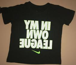 NIKE Boys Size 2T Black T-shirt In My Own League Swoosh