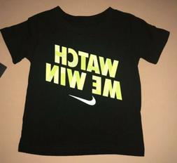 NIKE Boys Size 2T Black T-shirt Swoosh Watch Me Win