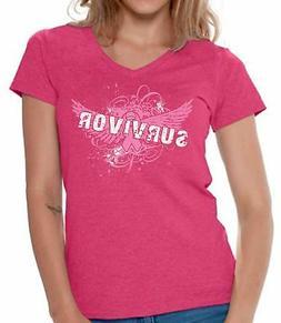 Cancer Awareness V-neck Shirts T shirts for Women  Women's f