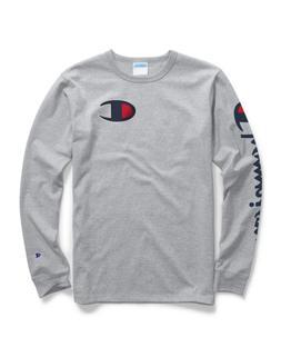 Champion Life® Men's Long-Sleeve Tee, Big C Logo Oxford Gre