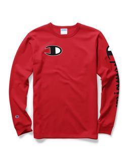 Champion Life® Men's Long-Sleeve Tee, Big C Logo Team Red S