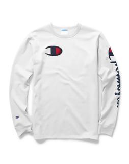 Champion Life® Men's Long-Sleeve Tee, Big C Logo White