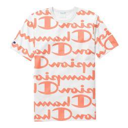 Champion Men's Life All-Over Script Logo T-Shirt: White/Oran