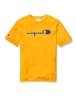 Champion Men's Life Heritage Flock 90s Logo T-Shirt: Yellow/