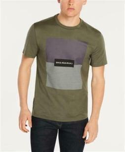 colorblocked graphic t shirt green mens medium