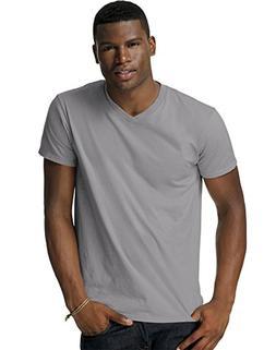 Hanes Men's Cotton Nano V-Neck T-Shirt,Vintage Grey,Small