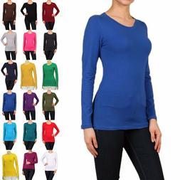 Cotton T-SHIRTS CREW/ROUND NECK Long Sleeve Women/Junior Sol