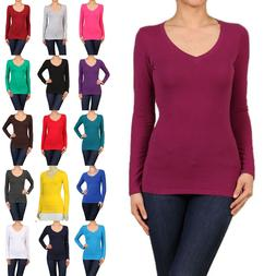 Cotton T-SHIRTS V-NECK Long Sleeve Women/Junior Solid Top S-