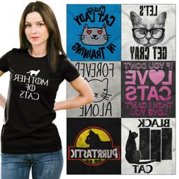 Crazy Kitten Lady Tee Shirt Graphic T-Shirt For Women Animal