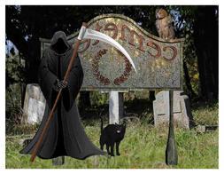 Custom Made T Shirt Halloween Cemetery Grim Reaper Scythe Ow