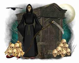 Custom Made T Shirt Halloween Grim Reaper Skulls Scythe Ceme