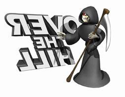 Custom Made T Shirt Over The Hill Grim Reaper Skeleton Scyth