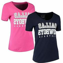 Dallas Cowboys T-Shirt Ladies Practice Glitter Women's V-Nec