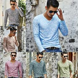 Fashion Men's Slim Fit V Neck Long Sleeve Muscle Tee T-shirt