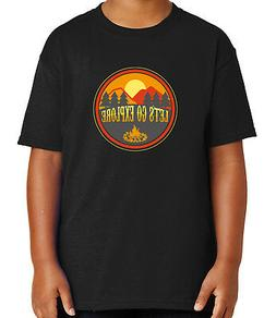 Fire Camp Camping Kid's T-shirt Outdoor Activities Sunset Te