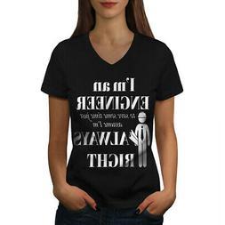 Wellcoda Gift For Engineer Womens V-Neck T-shirt, Funny Grap
