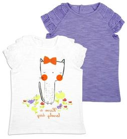 Girls Baby Toddler Kitten Have Lovely Day Pack 2 T-Shirts 6