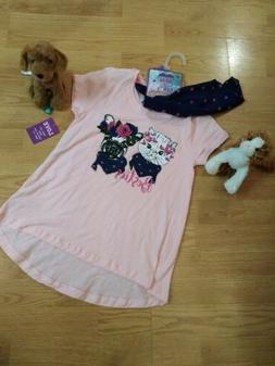 Girls t-shirts size large 14 16 shirt pink with scarf and cu